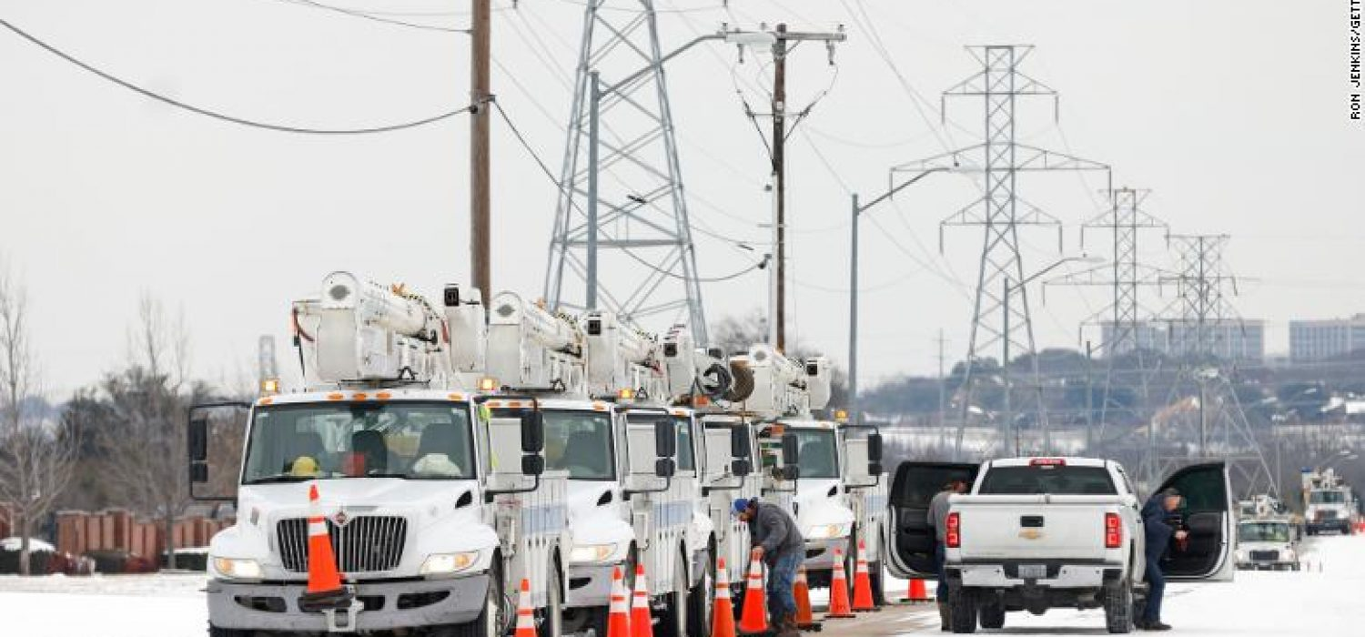 FORT WORTH, TX - FEBRUARY 16: Pike Electric service trucks line up after a snow storm on February 16, 2021 in Fort Worth, Texas. Winter storm Uri has brought historic cold weather to Texas and storms have swept across 26 states with a mix of freezing temperatures and precipitation. (Photo by Ron Jenkins/Getty Images)